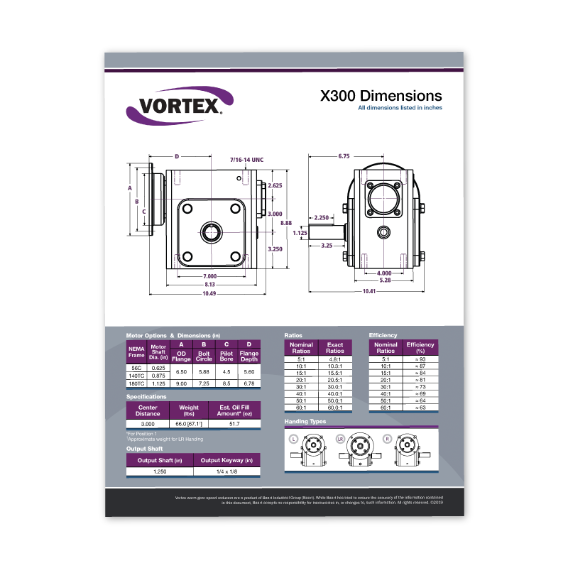 Vortex Worm Gear Spec Sheets Icon